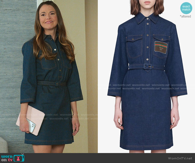 Belted Denim Dress by Gucci worn by Liza Miller (Sutton Foster) on Younger