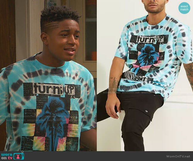 Zone Out Oversized Tie-Dye Tee by Guess worn by Booker Baxter (Issac Ryan Brown) on Ravens Home
