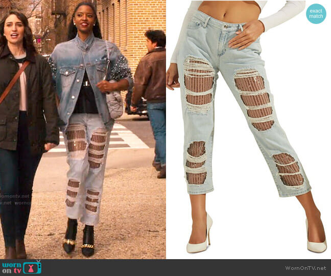 Guess Sequin Straight Leg Jeans worn by Wickie Roy (Renée Elise Goldsberry) on Girls5eva