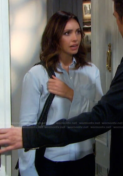 Gwen's raw hem chambray shirt on Days of our Lives