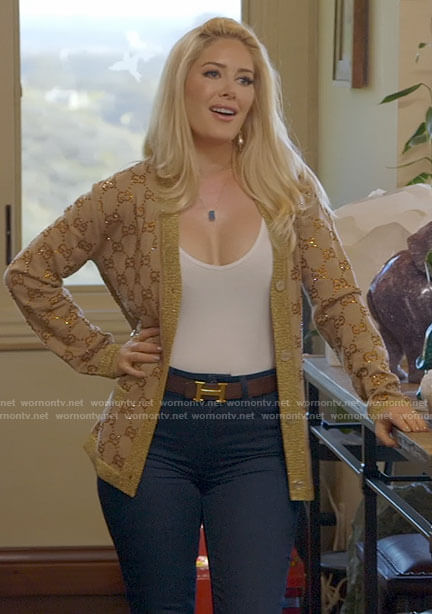Heidi's gold Gucci cardigan on The Hills New Beginnings