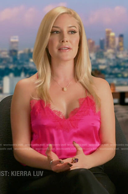 Heidi's pink lace trim cami on The Hills New Beginnings
