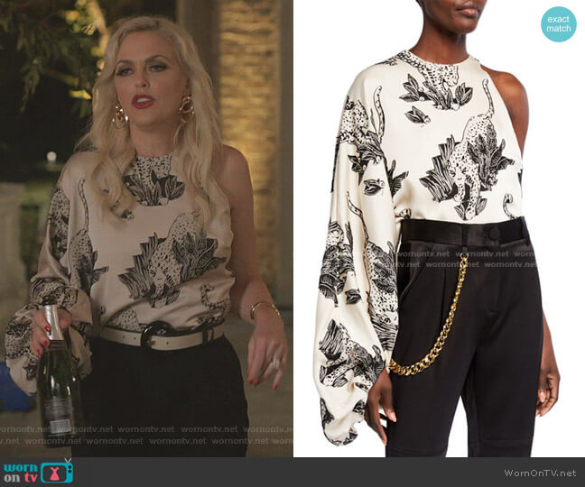 Renata One-Sleeve Tiger-Print Top by Hellessy worn by Alexis Carrington (Elaine Hendrix) on Dynasty