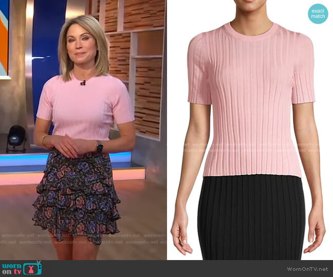 Ribbed Wool Top by Helmut Lang worn by Amy Robach  on Good Morning America