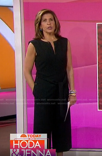 Hoda's black tie waist cropped jumpsuit on Today