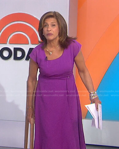 Hoda's purple tie waist midi dress on Today