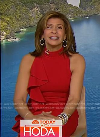 Hoda's red ruffle sleeveless dress on Today