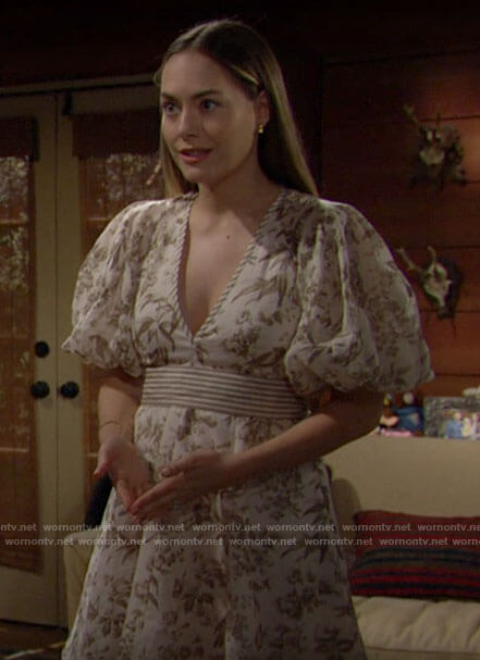Hope's white floral v-neck dress with puff sleeves on The Bold and the Beautiful