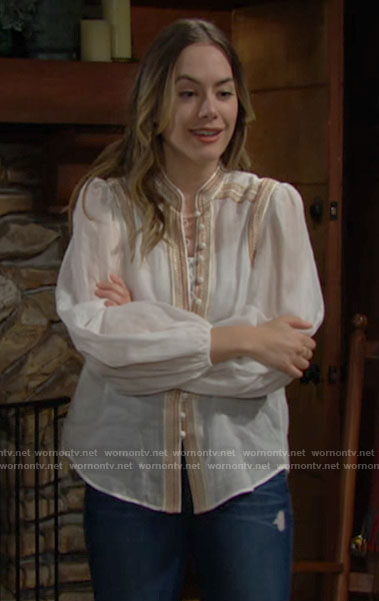 Hope's white embroidered button down blouse on The Bold and the Beautiful