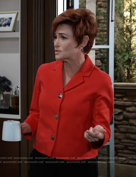 Diane's red cropped blazer on General Hospital