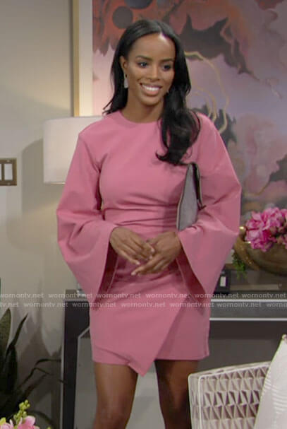 Imani's pink bell sleeve mini dress on The Young and the Restless