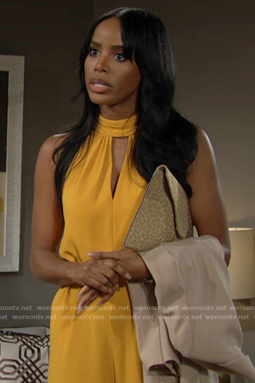 Imani's yellow jumpsuit on The Young and the Restless