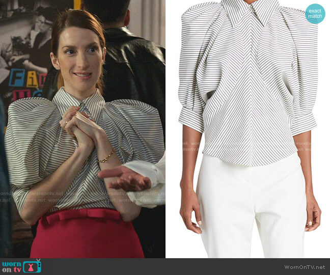 Striped Puff-Sleeve Silk Top by Isabel Marant worn by Lauren (Molly Bernard) on Younger