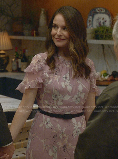 Izzy's pink floral ruffle dress on Bull