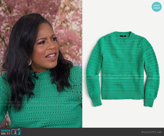Balloon-Sleeve Pointelle Sweater by J. Crew worn by Sheinelle Jones  on Today