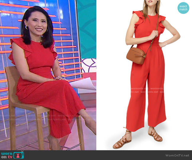 Sleeveless Ruffle Crepe Jumpsuit by J. Crew worn by Vicky Nguyen  on Today