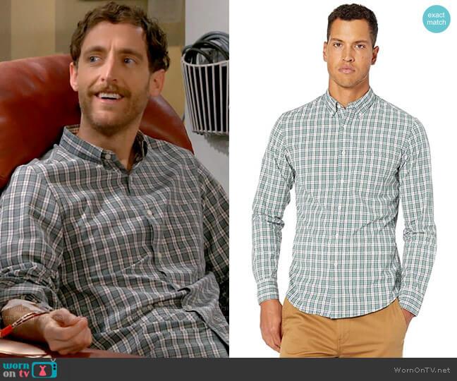 J. Crew Slim Stretch Secret Wash Shirt in Study Club Plaid Organic Cotton worn by Drew Dunbar (Thomas Middleditch) on B Positive