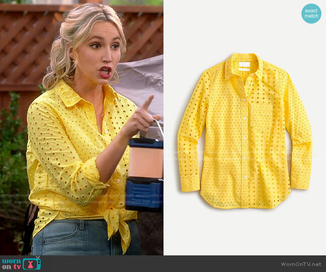 J. Crew Warm Sun Classic-fit shirt in eyelet worn by Mandy Baxter (Molly McCook) on Last Man Standing