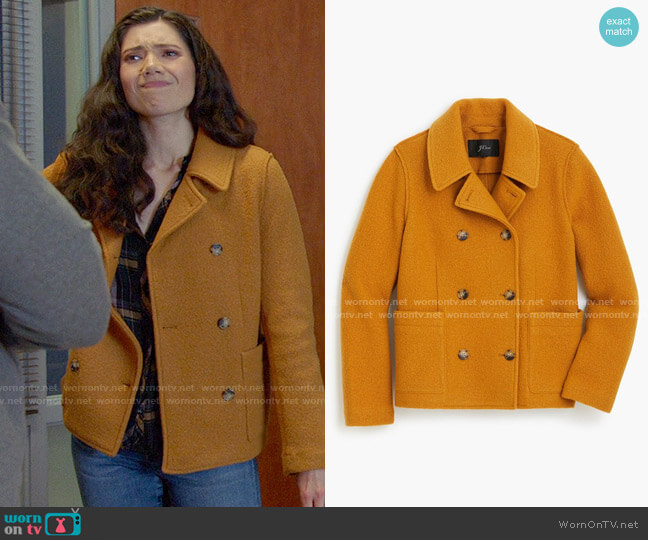 J. Crew Boiled Wool Peacoat in Warm Caramel worn by Violet Mikami (Hanako Greensmith) on Chicago Fire