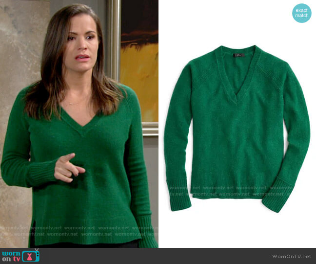 J. Crew Supersoft Yarn V-Neck Sweater in Hthr Alpine Meadow worn by Chelsea Lawson (Melissa Claire Egan) on The Young & the Restless