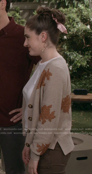 Jackie's beige floral cardigan on Call Your Mother