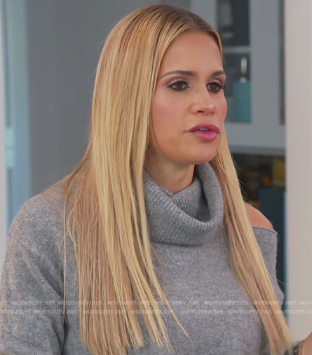 Jackie's gray turtleneck sweater with shoulder cutout on The Real Housewives of New Jersey