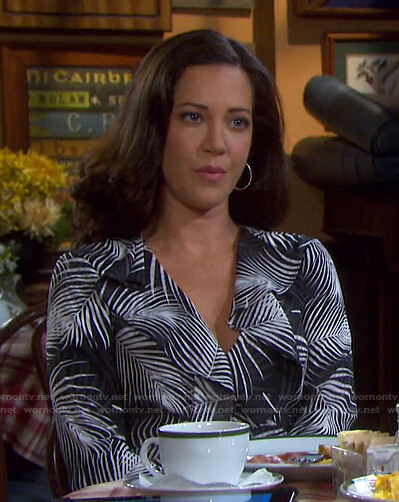 Jan's feather print ruffle wrap dress on Days of our Lives