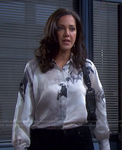 Jan's horse print shirt on Days of our Lives