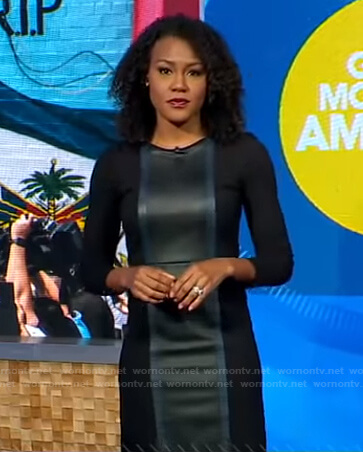 Janai's black leather panel dress on Good Morning America