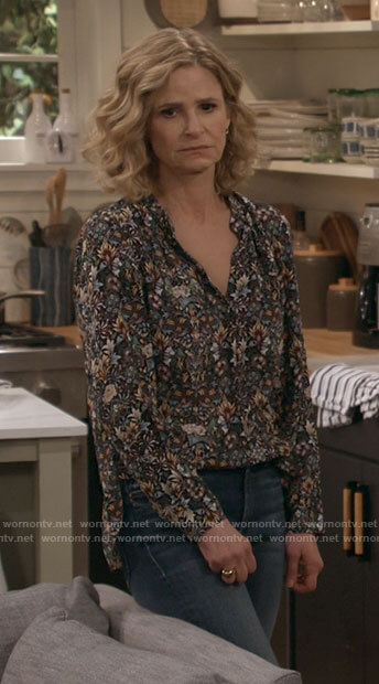 Jean's floral v-neck blouse on Call Your Mother