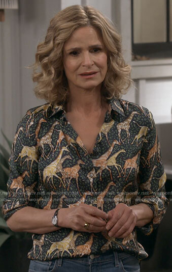 Jean's giraffe print top on Call Your Mother