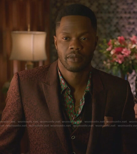Jeff's green printed shirt and burgundy suit on Dynasty