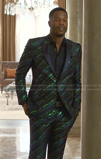 Jeff's metallic feather print suit on Dynasty