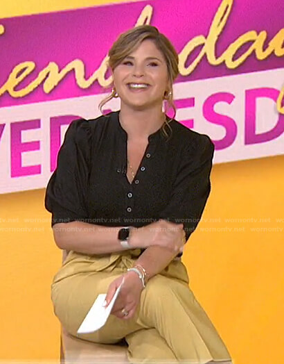 Jenna's black puff sleeve top and yellow pants on Today