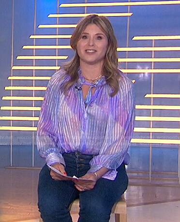 Jenna's purple striped tie neck blouse on Today