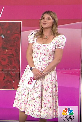Jenna's white floral square neck dress on Today