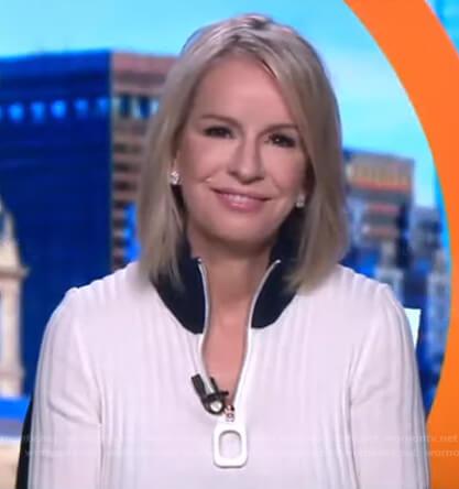 Jennifer's white ribbed half-zip sweater on Good Morning America