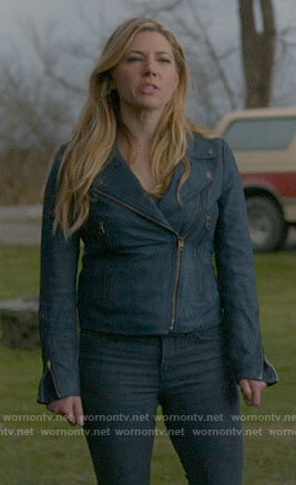 Jenny's blue leather moto jacket on Big Sky