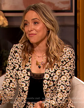 Jenny Mollen's floral print blazer and shorts on The Drew Barrymore Show