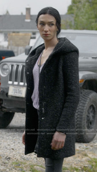 Jerrie's grey boucle hooded coat on Big Sky