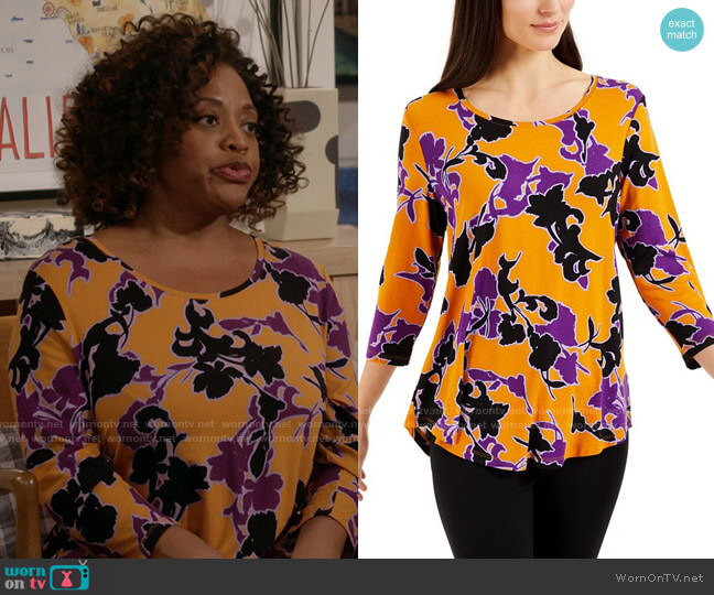 JM Collection Printed 3/4-Sleeve Top worn by Sharon (Sherri Shepherd) on Call Your Mother