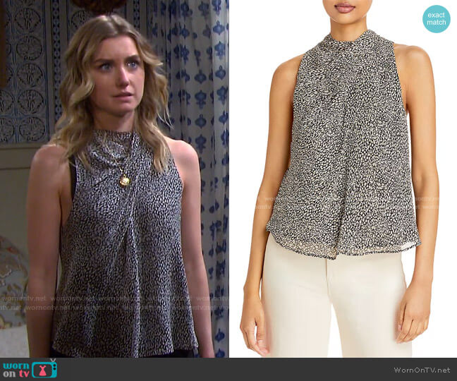 Paul Printed Pleated Top by Joie worn by Claire Brady (Isabel Durant ) on Days of our Lives