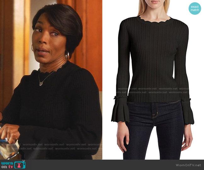 Scalloped Trim Sweater by Jonathan Simkhai worn by Athena Grant (Angela Bassett) on 9-1-1
