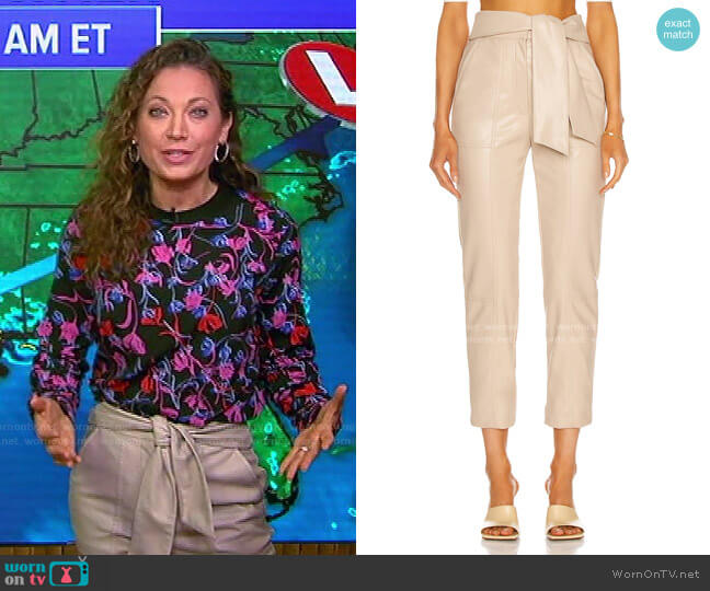 Tessa Vegan Leather Pant by Jonathan Simkhai worn by Ginger Zee  on Good Morning America