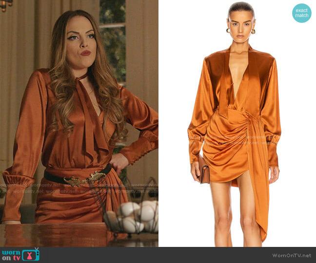 Tess Wrap Front Bodysuit and Mae Skirt by Jonathan Simkhai worn by Fallon Carrington (Elizabeth Gillies) on Dynasty