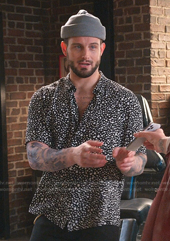 Josh's black dotted shirt on Younger