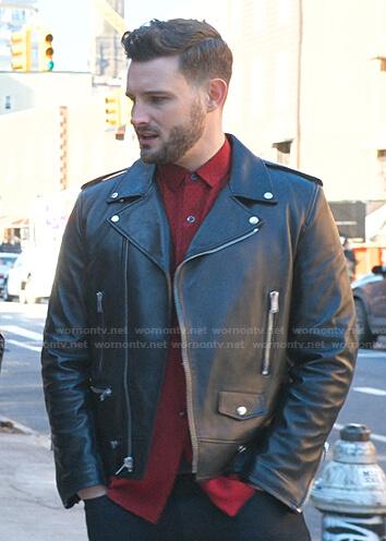 Josh's black leather moto jacket on Younger