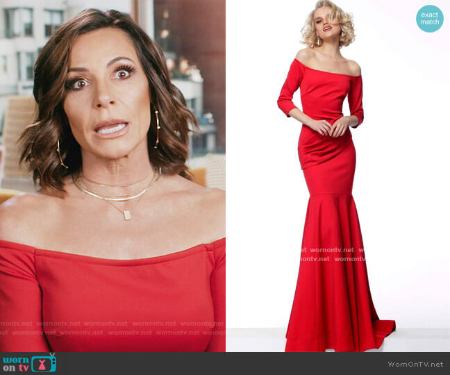Off-Shoulder Mermaid Dress by Jovani worn by Luann de Lesseps  on The Real Housewives of New York City