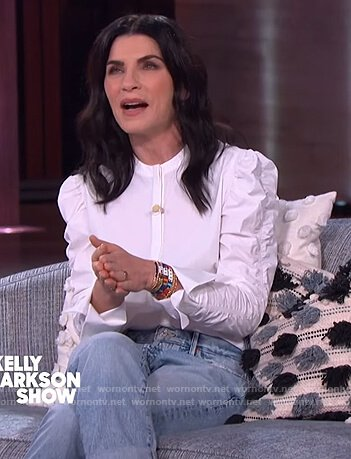 Julianna Margulies's white ruched sleeve blouse on The Kelly Clarkson Show
