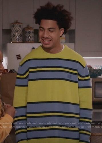 Junior's green stripe sweater on Black-ish